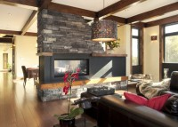 Salon et revêtement de pierre pour foyer 2 faces